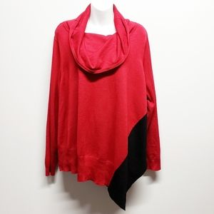 Red Black Cowl Neck Sweater Size 2X Color Block